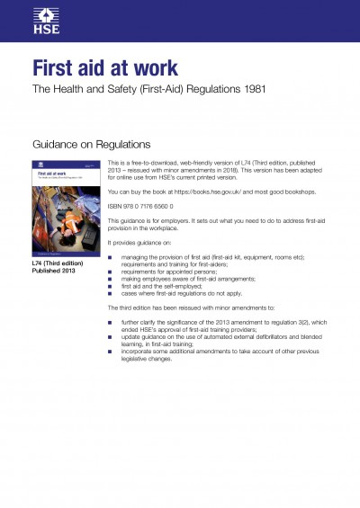 Code of Practice for First Aid L74