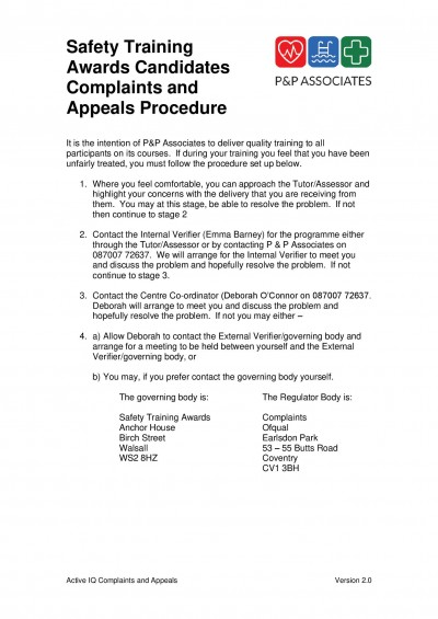 Safety Training Award Complaints and Appeals Policy